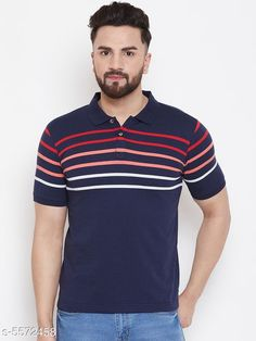 Tshirts Austin Wood Men's Navy Blue Striped Polo Neck T-shirt Fabric: Cotton Sleeve Length: Short Sleeves Pattern: Striped Multipack: 1 Sizes: S (Chest Size: 38 in Length Size: 27 in)  M (Chest Size: 40 in Length Size: 27.5 in)  L (Chest Size: 42 in Length Size: 28 in)  XL (Chest Size: 44 in Length Size: 28.5 in)  XXL (Chest Size: 46 in Length Size: 29 in)  XXXL (Chest Size: 48 in Length Size: 29.5 in) Country of Origin: India Sizes Available: S, M, L, XL, XXL, XXXL   Catalog Rating: ★4.1 (12668)  Catalog Name: Trendy Partywear Men Tshirts CatalogID_833565 C70-SC1205 Code: 133-5572458-177