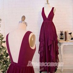 Real Sexy Long Chiffon Burgundy Prom Dresses,Deep V-neck Prom Dress,Open Back Evening Dresses,Simple Cheap Long Prom Gowns  http://www.luulla.com/product/521513/real-sexy-long-chiffon-burgundy-prom-dresses-deep-v-neck-prom-dress-open-back-evening-dresses-simple