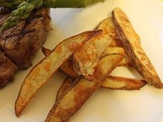 "What child (or adult, for that matter) doesn't love french fries? These ""fries"" taste just as good as the deep fried version, but they're simple to make and much healthier baked in the oven. Serve them as a side dish or a fun afternoon"
