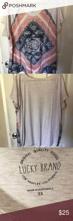 Lucky brand plus size tee!! So cute and trendy! Matches everything and looks great with denim! Good Condition. Perfect for spring and summer. 🌸Bundle 2 or more items and get 15% off!!! 🌸 Lucky Brand Tops Tees - Long Sleeve
