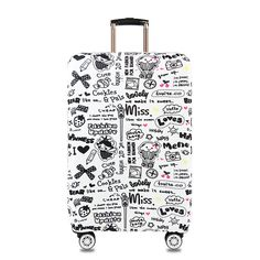 ALAZA Luggage Protector,Grey Skulls Elastic Travel Luggage Suitcase Cover,Washable and Durable Anti-Scratch Case Protective Cover for 18-32 Inches