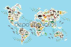 Cartoon animal world map for children and kids, Animals from all over the world, white continents and islands on blue background of ocean and sea. Vector - Векторная картинка: 90662460