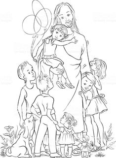 Hugging siblings coloring page for The Friend Magazine ...