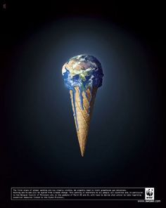 This image shows the earth melting on an ice cream cone like a normal ice cream when the temperature gets too high. It is trying to warn us about global warming.
