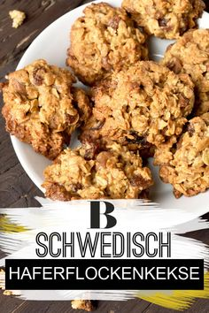 This recipe for Swedish Oatmeal Biscuits is a breeze and in just 25 minutes the oven-fresh cookies are on your table. Potluck Desserts, Unique Desserts, Dessert Recipes, Oatmeal Biscuits, Oatmeal Cookies, Easy Cookie Recipes, Oatmeal Recipes, Le Diner, Biscuit Recipe