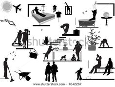 silhouette of people in their house