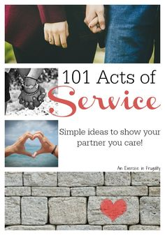 My husband& Love Language is Acts of Service. Mine is Words of Affirmation. How do we keep the romance alive? I learned to SHOW him how much he means to me, and came up with a great list of 101 Acts of Service to share with you all!