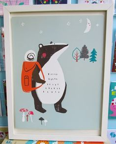 The new Print & Pattern's 'Woodland Friends' poster book. Featuring 20 pull out prints. Badger by Dawn Bishop