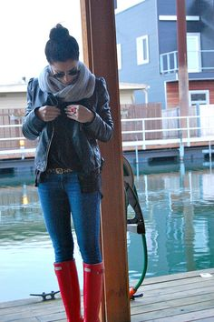 Red hunter boots, leather jacket, infinity scarf, jeans -- <3
