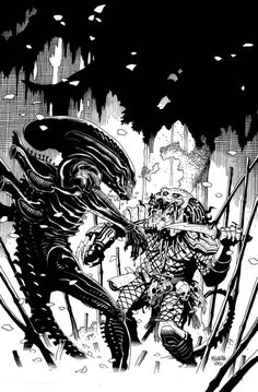 Alien vs Predator by Mike Mignola. Say what you want about the movies, I still say this concept is solid.