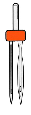 twin wing needles (one regular, one wing)