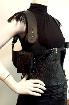 Leather Post Apocalyptic Underbust Corset  by AllureCollection