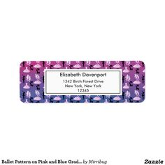 Ballet Pattern on Pink and Blue Gradient Label