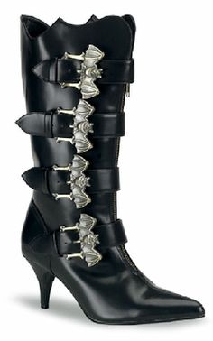 Demonia Fury bat-buckle boots.  WTF Bring up the heel! The higher the heel the closer to God girl!