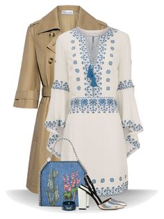 """Embroidered kaftan dress"" by molly2222 ❤ liked on Polyvore featuring RED Valentino, Talitha, STELLA McCARTNEY, Mark Davis, embroidered, trenchcoat, tassels, kaftandress and halfsleevecoat"