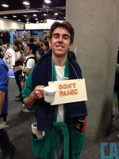 Hitchhiker's Guide to the Galaxy #cosplay | SDCC 2013 Day 1 <--Loooooove. Also right about my speed. Maybe I'll be Arthur Dent for Halloween.