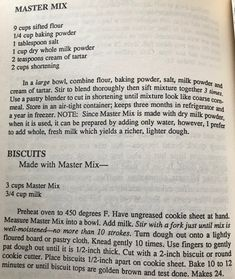 Master Mix Recipe, Homemade Dry Mixes, Whole Milk Powder, Biscuit Mix, Sifted Flour, Powdered Milk, Pancake, Scones, Crackers