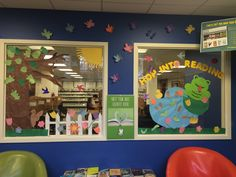 Teen Room decorated by teen volunteers, Anna & Amy.  Hop into Reading!