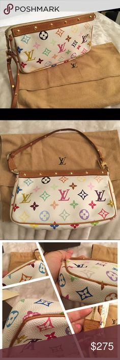 Louis Vuitton multicolor pouchette Discontinued Louis Vuitton multicolor pouchette with a studded wristlet. Has a red velvet interior. In very good used condition 8/10. Comes with dustbag Louis Vuitton Bags Clutches & Wristlets