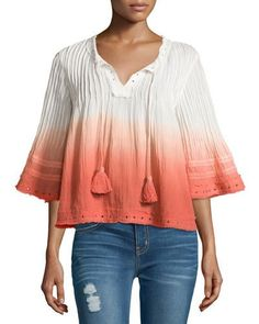 Tularosa Huxley Grommet-Trim 3/4-Sleeve Blouse, Watermelon Ombre New offer @@@ Price :$138 Price Sale $85