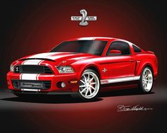 MUSTANG SHELBY OFFICIALLY LICENSED CAR PRINT-POSTER BY DANNY WHITFIELD #AutomotiveArt