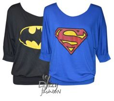 NEW LADIES BAGGY BATWING TOP WITH SUPRMAN AND BATMAN PRINT TOP VEST TEE SHIRT: Amazon.co.uk: Clothing