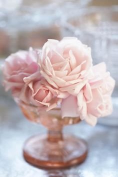 pale pink roses and pink depression glass...