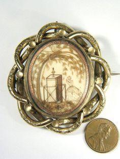 ANTIQUE ENGLISH GOLD MOURNING HAIR MINIATURE LOCKET PIN BROOCH c1880   eBay. $255.00