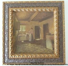 Have one to sell? Sell it yourself   Marius Hammann Danish Signed Sunlit Interior Scene Genre Laundress Painting  NO RESERVE from Chicago NY Designer Estate
