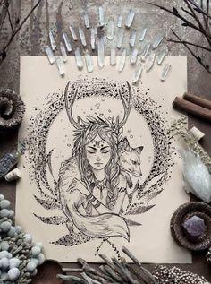 Body Art Tattoos, Tattoo Drawings, Small Tattoos, Sleeve Tattoos, Art Drawings, Fuchs Tattoo, Witch Tattoo, Hippie Art, Pretty Art