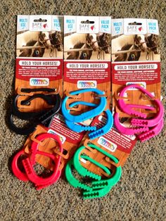 Safe T-Tie Clips that are safe to tie your horse or bucket with, use to tie horse to trailer, or paddock, high line, or hitching post, anywhere you tie your horse.  Safely have a breakaway and not risk the possibility of dismembering a finger or thumb like our friend Laura Lee.  Sold in a 2 pack of colors shown.  Safe T-Ties are adjustable in break-away strength so find them on our website:  www.CampWithHorses.com