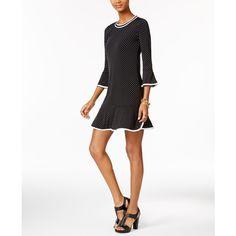 Michael Michael Kors Petite Dot-Print Flounce Dress ($98) ❤ liked on Polyvore featuring dresses, black, polka dot dress, dot dress, ruffle hem dress, mixed print dress and flutter-sleeve dress