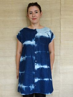 Maya dress - denim button front short dress with shaped hem. The reverse shibori was done after the dress was made up!