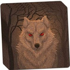 "Amazon.com: Custom & Cool {4"" Inches} Set Pack of 4 Square ""Grip Texture"" Drink Cup Coaster Made of Cork w/ Cork Bottom & Modern Gothic House Decor Bright Eyed Dire Wolf Design [Red, Black & Brown Colors]: Home & Kitchen"