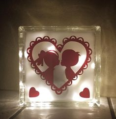 Lighted Glass Block - Valentines - Night Light - Vinyl Cut with Silhouette Cameo - work by AS.