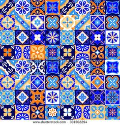 Illustration about Mexican stylized talavera tiles seamless pattern in blue orange and white, vector background. Illustration of ornamental, orange, diamond - 61332919 Mexican Pattern, Patchwork Tiles, Arabesque Pattern, Talavera Pottery, Mexican Designs, Mural Wall Art, Mexican Art, Abstract Images, Tile Art