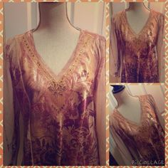 Silk Top This is a beautiful silky soft sequined top with a meadowy feel to it. With flowy sleeves. No tags but new. Tops Blouses