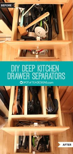 DIY Deep Drawer Separators in the Kitchen Instead of retro fitting a store bought drawer separator, learn how to make your own to fit those deep drawers in your kitchen! Kitchen Utensil Organization, Diy Kitchen Storage, Diy Kitchen Decor, Organization Ideas, Kitchen Ideas, Organizing Tips, Organizing Kitchen Drawers, Kitchen Drawer Dividers, Closet Organization