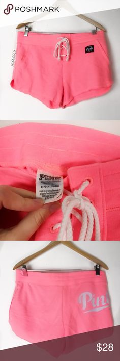 Vs pink lace up small lounge shorts Tiny stain as seen in last picture. Perfect condition other than that. Size S. Please allow 2 business days for shipping. If you are in need of it sooner, please let me know. Tag maybe marked out.   No trades No holds PINK Victoria's Secret Shorts