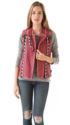 April, May Valeri red Leather Vest