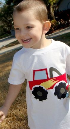 NEW Monster Truck Boys Custom Applique Tshirt by OhBananas on Etsy, $23.00