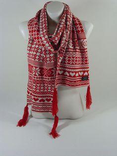 Damenschal Herrenschal rot Norwegerschal Herbst Winter Geschenk Schal Scarf