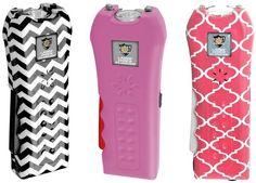Ladies Choice Stun Gun 21 Million Volts, In Chevron, Pink and Coral Quatrefoil Design
