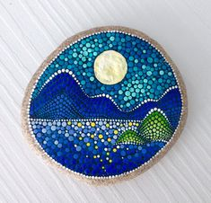 Mountains Painted stone painted rock Fairy garden marker decoration stone art dotilism blue
