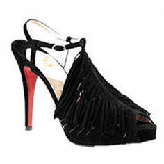 Christian Louboutin Shoes Plume Tassel Sandals Black