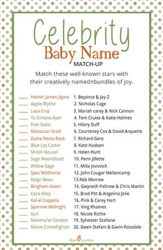 Guess The Celebrity's Kid Baby Shower Party Game