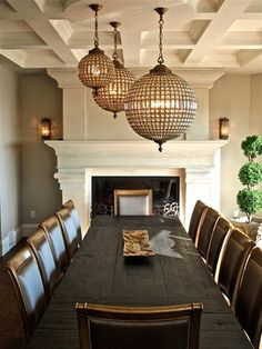 Restoration Hardware lighting Traditional Dining Room coffered ceiling - like the idea of multiple chandeliers House Design Photos, Cool House Designs, Modern House Design, Dining Room Walls, Dining Room Design, Beautiful Interior Design, Home Interior Design, Home Design, Restoration Hardware Lighting