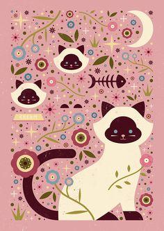 Carly Watts Art & Illustration: Siamese Cats