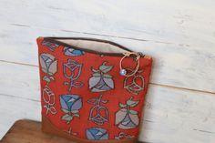 "Special Sale /// This beautiful Kimono × Leather Fold over Clutch bag is made of Japanese Vintage Tulip pattern on Dark Orange Kimono Fabric ( wool ) "" Kasuri "" with Beautiful Italian brown leather."