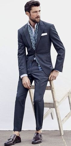 Navy Grey Ludlow Suit, Navy Paisley Silk Scarf, and Black Monk Strap Shoes, via J. Crew. Men's Spring Summer Fashion.
